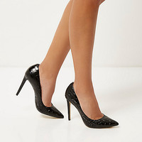 Black patent leather croc pumps - pumps - shoes / boots - women