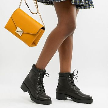 New Look Chunky Lace Up Flat Boot at asos.com