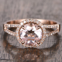 8mm Morganite Engagement ring Rose gold,Diamond wedding band,14k,Round Cut,Gemstone Promise Bridal Ring,Claw Prongs,Split Shank,Halo ring