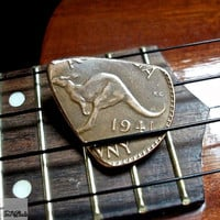 Coin Guitar Pick --  Rustic 1941 Australian Copper Penny