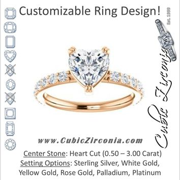 Cubic Zirconia Engagement Ring- The Chandita (Customizable Heart Cut Design with Large Round Cut 3/4 Band Accents)