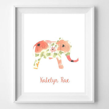 Elephant Nursery Print, printable nursery wall art.