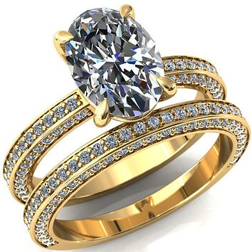Kailee Oval Moissanite 4 Prong 3/4 Eternity 3 Sided Diamond Shank Engagement Ring