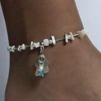 Mother of Pearl Anklet with Sea Glass
