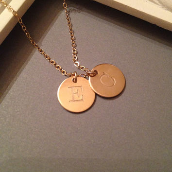 Two Gold Filled Personalized Initials Necklace, Mom Necklace, Dainty, Simple, Everyday Jewelry