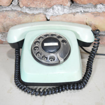 Vintage rotary phone Retro phone Old rotary telephone Dial phone TA-800 made in Bulgaria  1982 working Green phone Rotary working phone