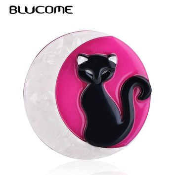 Blucome Fashion Round Animal Cat Moon Pattern Brooches Acrylic Jewelry Badge Women Kids Girl Hat Clothing Scarf Pins Accessories