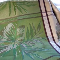 "io-H57 Indoor Outdoor Large Block Leaf Jacquard 52 x 70"" Oblong Tablecloth Elegant Green Chocolate Brown"
