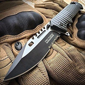 """9"""" BLACK TACTICAL RESCUE Assisted Open Blade Pocket Knife TAC-FORCE New"""