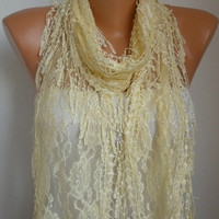 ON SALE - Light Yellow Scarf - Cowl with Lace Edge