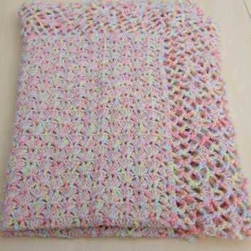 Hand crochet baby blanket or afghan in pastel colours