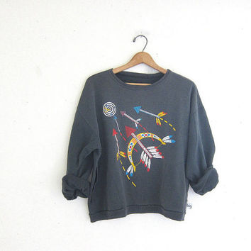 20% OFF SALE Vintage 80s SWATCH sweatshirt. faded black gray Sweatshirt. Coed Sweatshirt.
