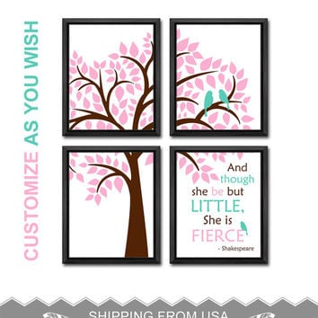though she be but little girl nursery she is fierce baby girl decor bird family in a tree girls room decor birds in a tree girl wall art