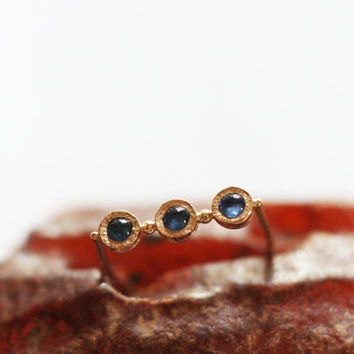 Modern 14k gold  ring,  gold blue sapphire ring, handmade jewelry by Arpelc