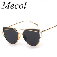 Mecol Sexy Women Cat Eye Sunglasses Classic Brand Designer Twin-Beams Metal Frame Shades Sun glasses Mirror Flat Lens UV400 M195