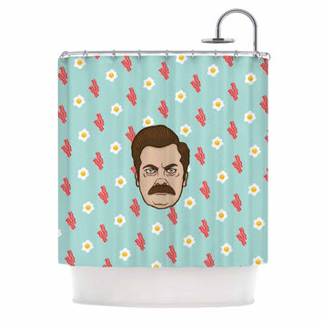 """Juan Paolo """"Give Me All Of The Bacon And Eggs"""" Parks & Recreation Shower Curtain"""