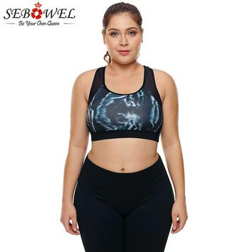 SEBOWEL Plus Size Mesh Insert Printed Sports Bra Women Yoga Fitness Shake Proof Stretch Bra Tops Seamless Padded Vest XL 2XL 3XL