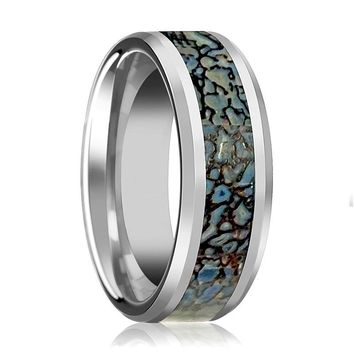 SPARTAN Beveled Tungsten Matching Wedding Ring with Blue Dino Bone Inlay