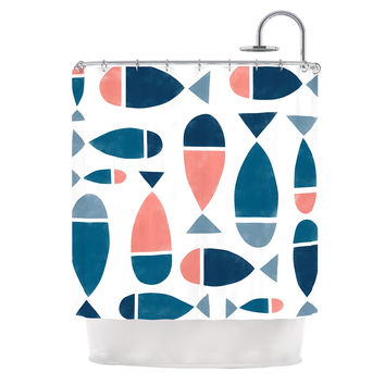 "Alik Arzoumanian ""Fish"" White Blue Shower Curtain"