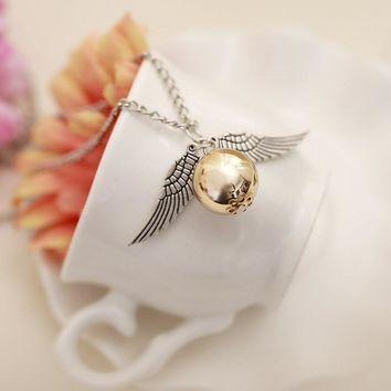 YimYik 10 pcs Popular Harry Necklace Vintage Style Angel Wing Charm Pendent  Necklace For boys Necklace Chain
