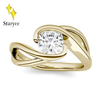 Test Positive 1.1ct 6mm Cushion Moissanite Solitaire Engagement Ring in 14K Yellow Gold Lab Diamond Set Anniversary Fine Jewelry
