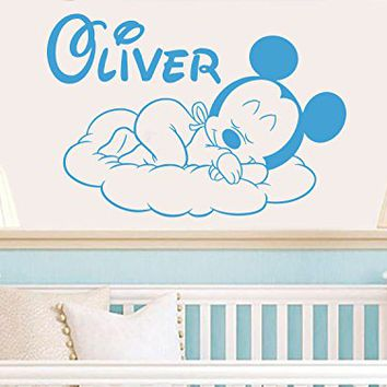 Wall Decals Personalized Name Mickey Mouse Vinyl Sticker Decal Custom Name Girls Boys Initial Monogram Children Baby Decor Nursery Kids Room Bedroom Art NS914