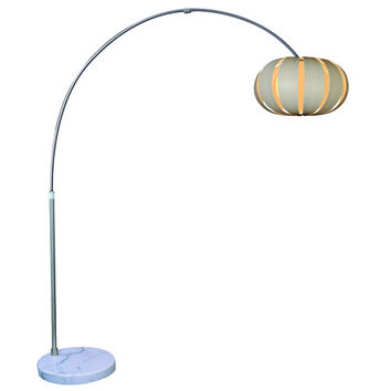 Trend TFA3976-W Pique Brushed Nickel One-Light Arc Floor Lamp with Eco Synthetic White Petal Shade