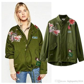ONETOW Fashion Spring Autumn Coat Women Cloak Style peacock flower embroidery rivet lap draw string jackets