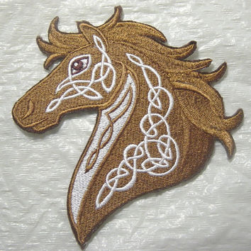 Beautiful Celtic Horse with Knotwork Machine Embroidered Iron on Applique - Choose your size