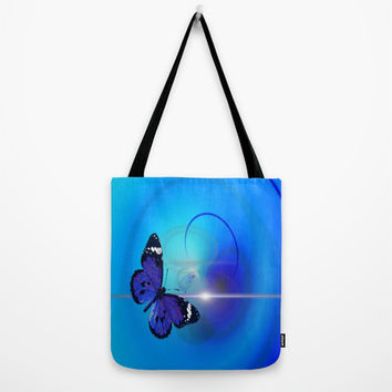 blue butterfly Tote Bag by Mariedesignz