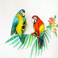 Brooch Tropical Ara Parrot, statement, bright jewelry, funny holiday jewelry, multicolor, yellow, red and blue,