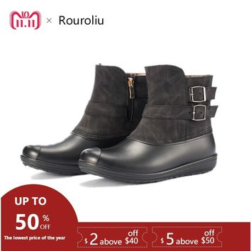Rouroliu Women Winter Warm Lining Rain boots Waterproof Water Shoes Woman Slip-on Rivet Buckle Ankle Wellies Snow Boots RT397