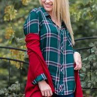 Pine Green Plaid Top