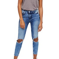 Busted Skinny Jeans Dark Blue by Free People