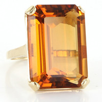 Vintage 14 Karat Yellow Gold Fire Medeira Citrine Cocktail Ring Fine Jewelry