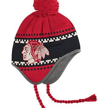 Chicago Blackhawks Men's Knit Pom Hat with Tassels NHL Reebok Official