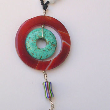 Circle of Life Pendant- Pendant Necklace -Black Macrame Necklace- Red Agate, Howlite, Jade,African Glass Beads - Airy Neklace- Gift For Her