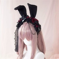 Sweet Lolita Rose Rabbit Ear Headwear