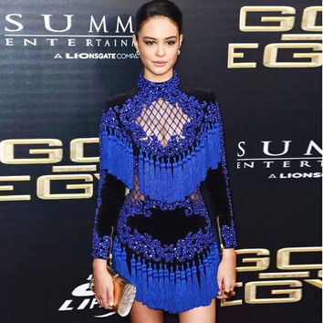 High Quality 2016 New Runway Star European And American Fashion Sexy Heavy Beading Hollow Fringed Luxury Long-Sleeved Dress