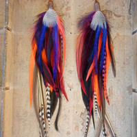 Arizona Sunset Extra Long Feather Earrings