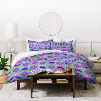 Bianca Green Aztec Diamonds Teal Duvet Cover
