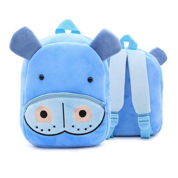 Kids Baby Cartoon School Bags 3D Hippo Shaped Backpack For Kindergarten Girls Boys Cute Schoolbag Children's Gift Plush Mochila