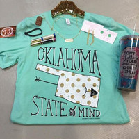 Mint Oklahoma State of Mind with Gold T-shirt