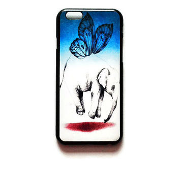 iPhone 6 Case Elephant Sketch iPhone 6 Hard Case Blue Butterfly Back Cover For iPhone 6 Elephant Slim Design Case 6151