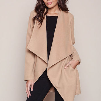 KHAKI OPEN MIDI TRENCH COAT