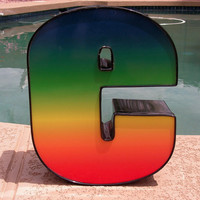 Fabricated Metal Plastic Letter E Rainbow Multicolor Wall Hanging 3d Sign