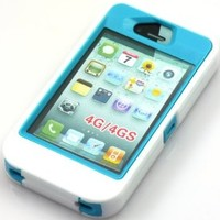 KABB New Body Armor Defender 3 Layers Case Cover for Iphone 4 & 4s (white)