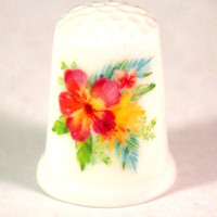 Collectible Thimbles, Handmade Thimbles, Thimble Collection, Hibiscus Thimble