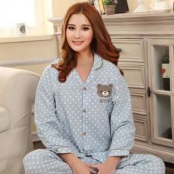 Beary Sweet Polka Dot Print Vintage Pajama Set in Blue/Grey | Sincerely Sweet Boutique