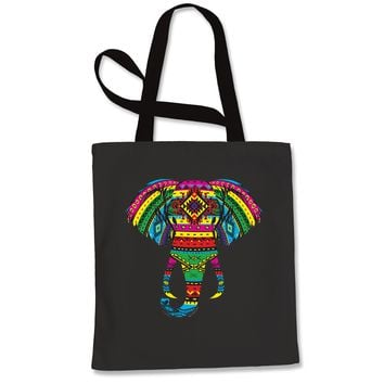 Aztec Color Elephant (Glows In The Dark) Shopping Tote Bag